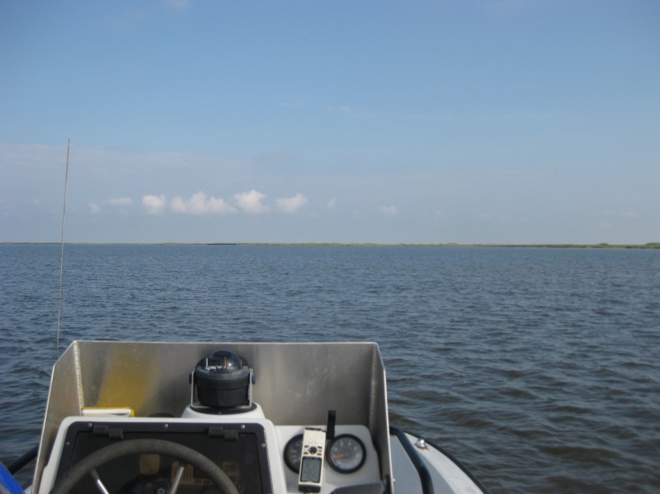 Early segments of the transect are mostly water with faraway marsh
