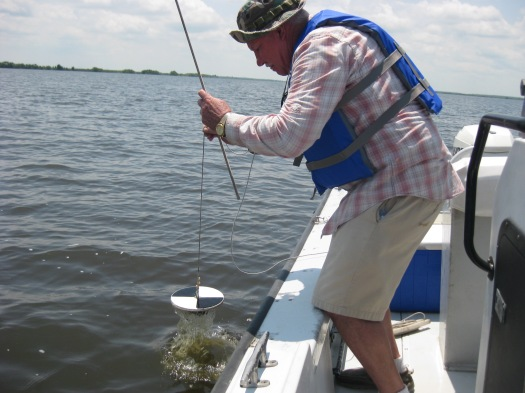 Jim doing turbidity measurements, old school