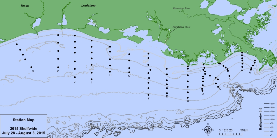 the 2015 NGOM Shelfwide Hypoxia transect. We will be sampling two sites from two transects over 24 hours time periods. Figure credit to Dr. Nancy Rabalais and Dr. Leslie Smith