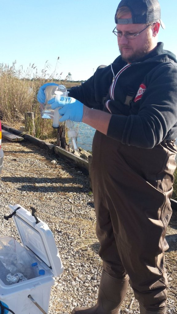 Mike filtering a water sample